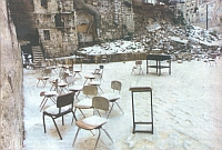 All the area of the collapsed wall and the Biblical Kipponus (Berkley) Gate. An ancient gate can be seen in the wall, the snow which covers the ground and chairs can be seen. It was a godly message: no more worship outside the Temple Mount near the Western Wall but on the Temple Mount in my holy Temple - end of the time of exile; the start of redemption.